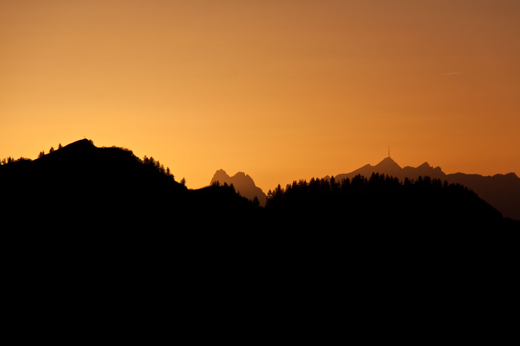 Sonnenuntergang-Schweizer Berge
