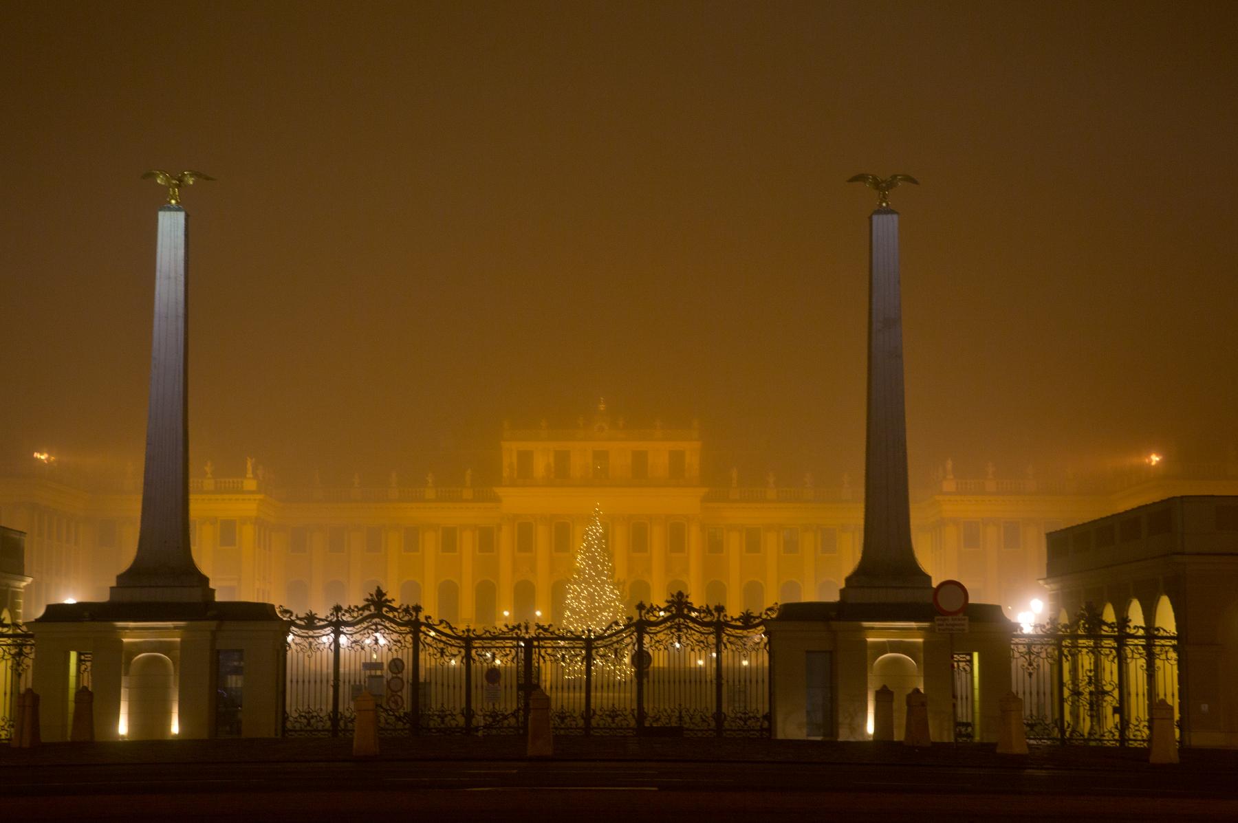 Schönbrunn bei Nacht und Nebel
