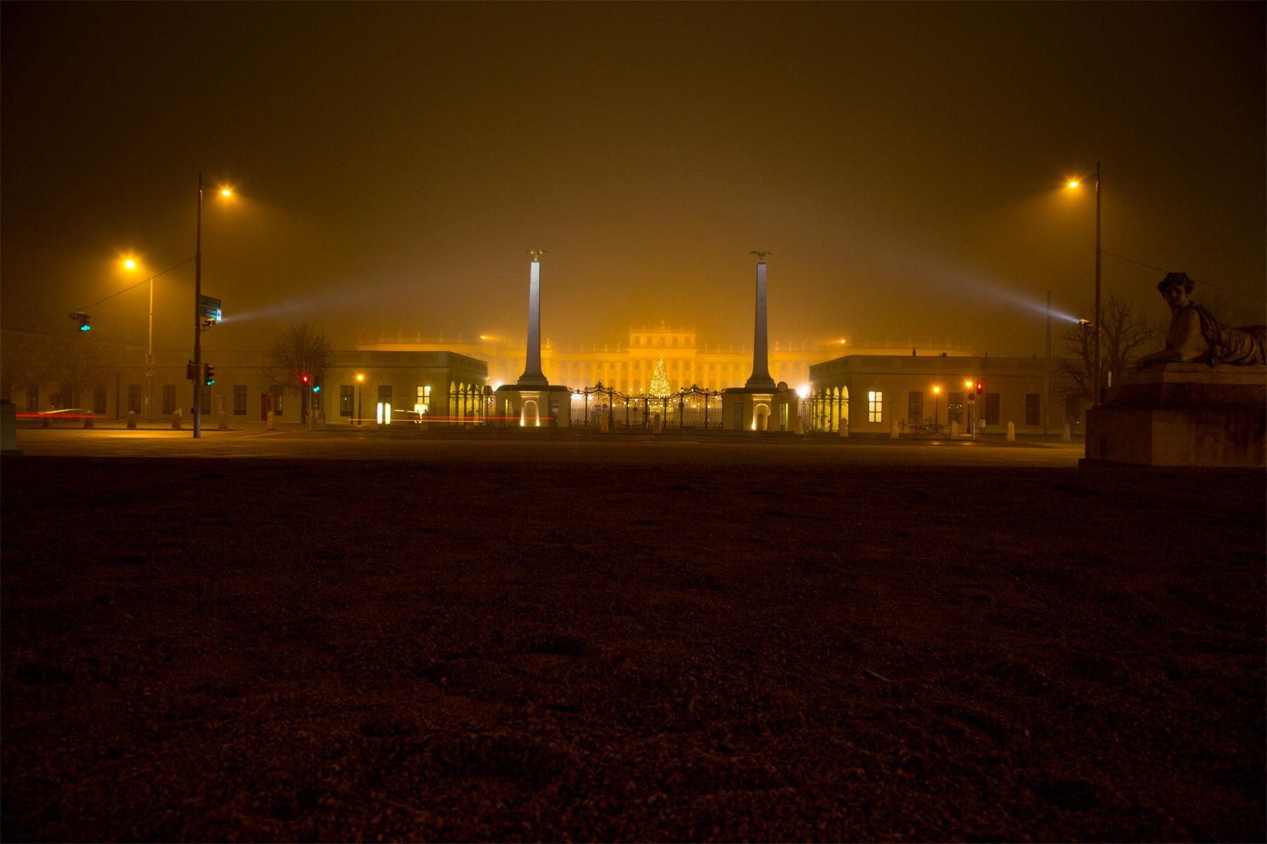 Schloss Schönbrunn im Nebel