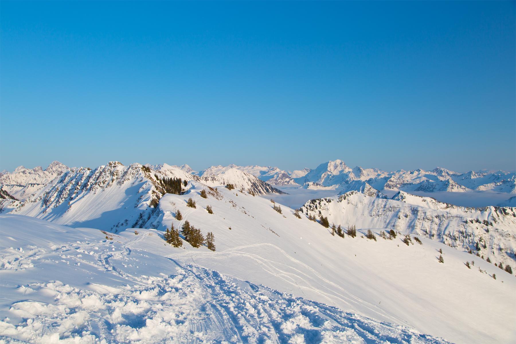 Bergpanorama, links Widderstein, Mitte rechts Rote Wand