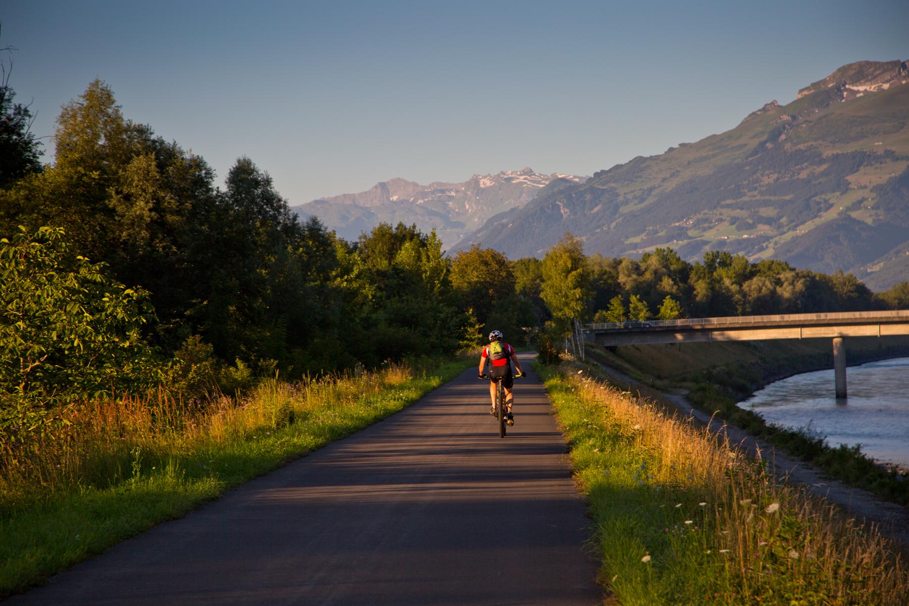 Radfahrer auf dem Rheindamm