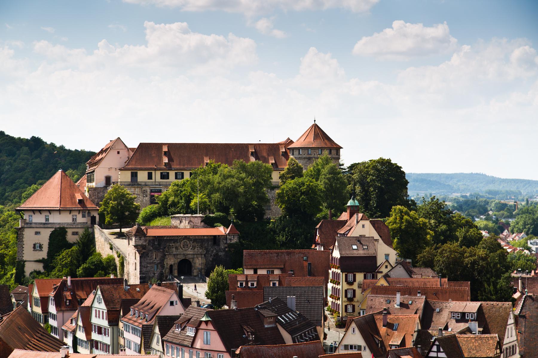 Schloss vom Turm der Stiftskirche St. Georg