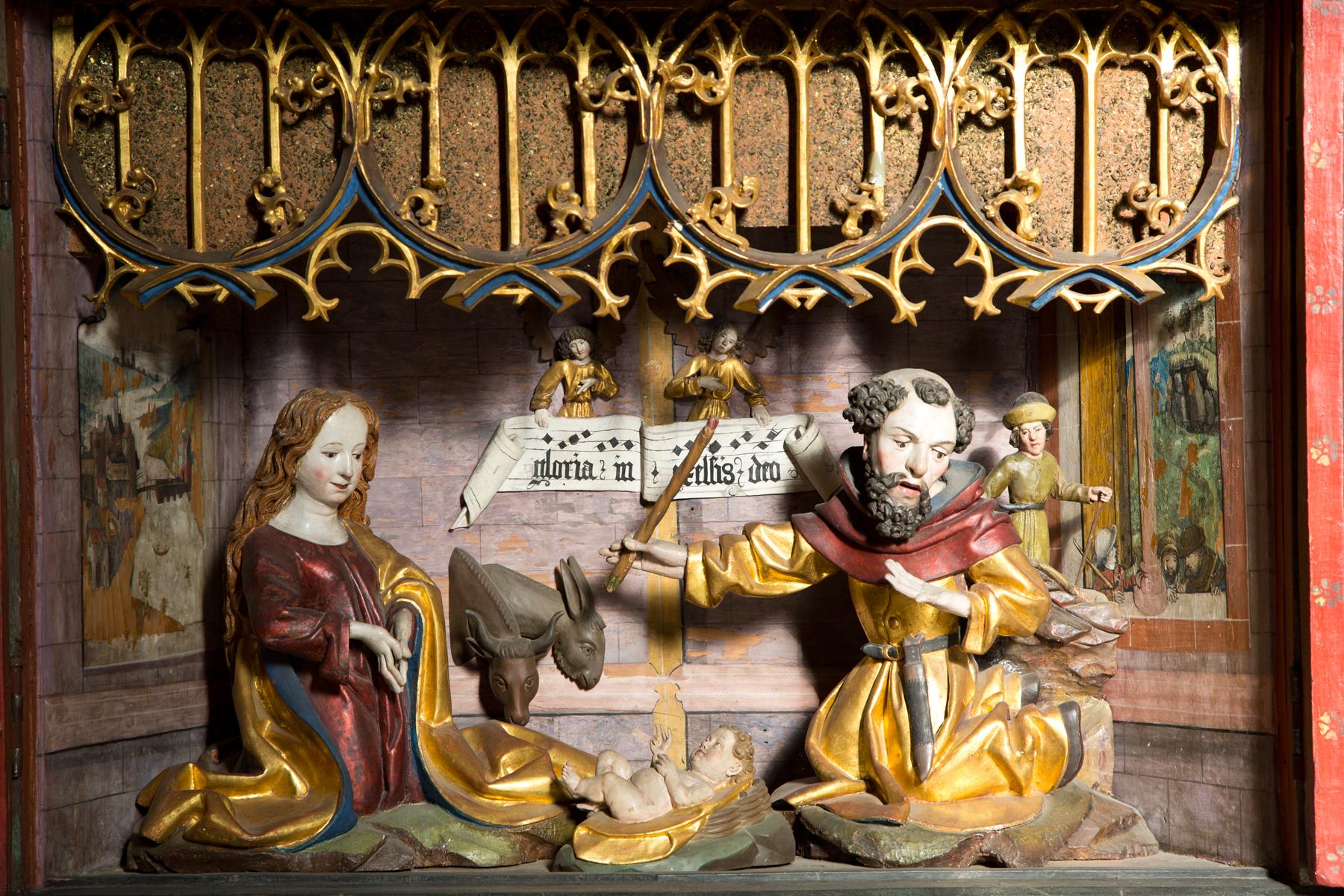 Jesu Geburt, Detail Flügelaltar Magdalenekapelle - Hall in Tirol