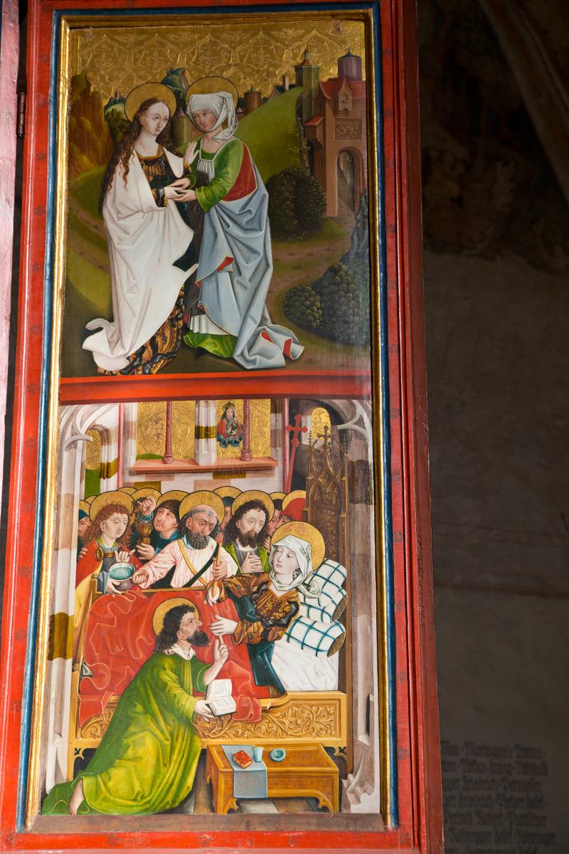 Szenen aus dem Leben Mariens: Heimsuchung, Tod Mariens; Rechter Flügel Magdalenenaltar - Hall in Tirol