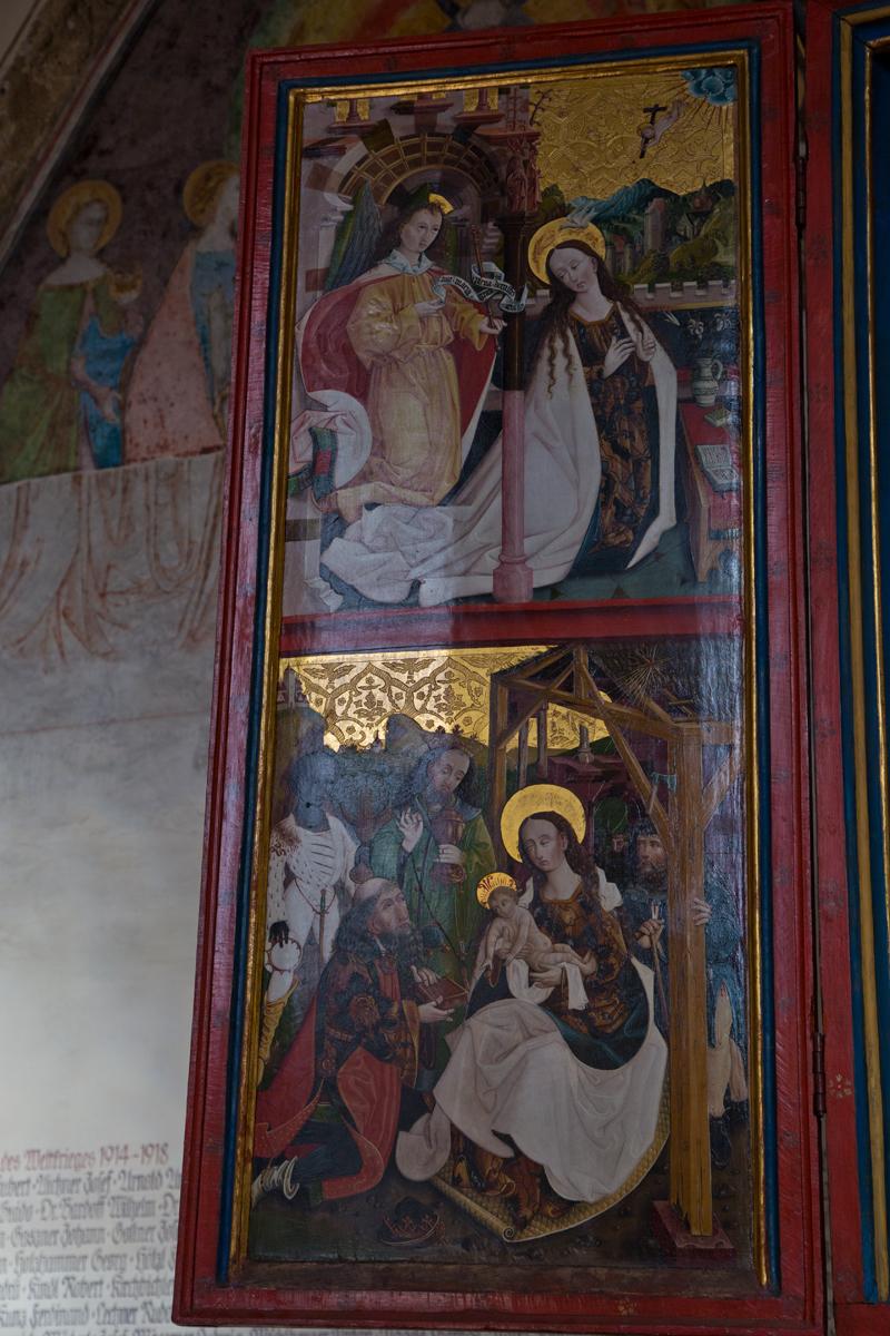 Szenen aus dem Leben Mariens: Verkündigung, Anbetung der Könige; Linker Flügel Magdalenenaltar - Hall in Tirol